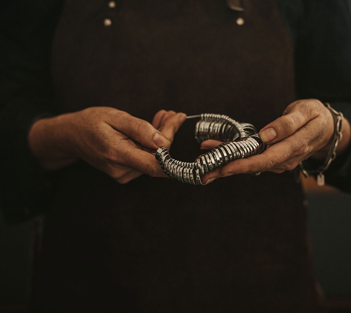 Ring Sizer in the hands of a goldsmith